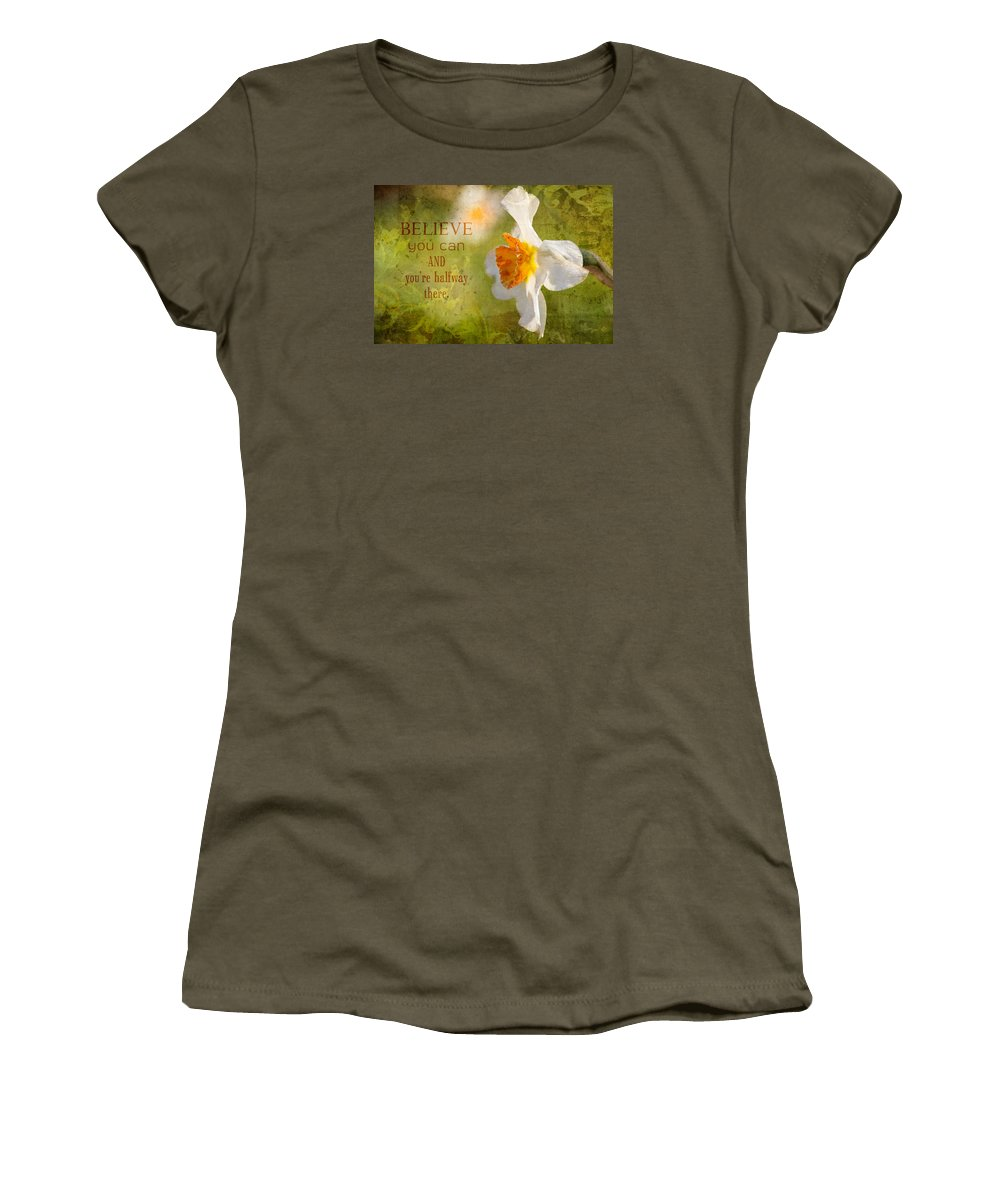 Flower Artwork Women's T-Shirt featuring the photograph Halfway There With Message by Mary Buck