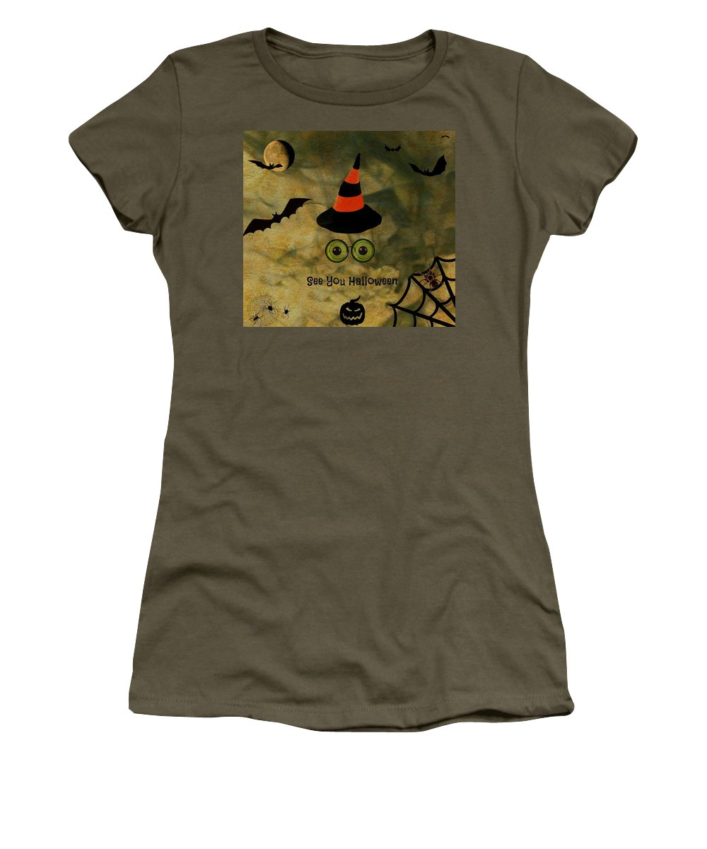 Halloween Women's T-Shirt featuring the photograph Halloween Eyes by Barbara S Nickerson