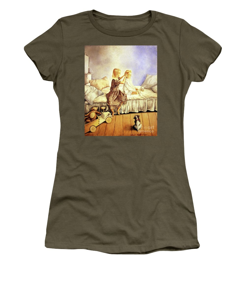 Animals Women's T-Shirt (Athletic Fit) featuring the painting Hands Of Devotion - Childhood by Linda Simon