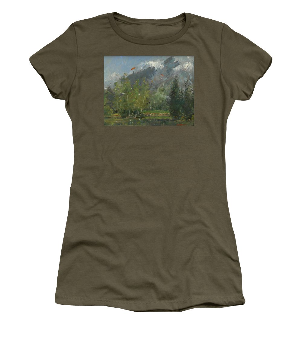Glider Women's T-Shirt featuring the photograph Hang Gliders At Chamonix, 2007 Oil On Canvas by Pat Maclaurin