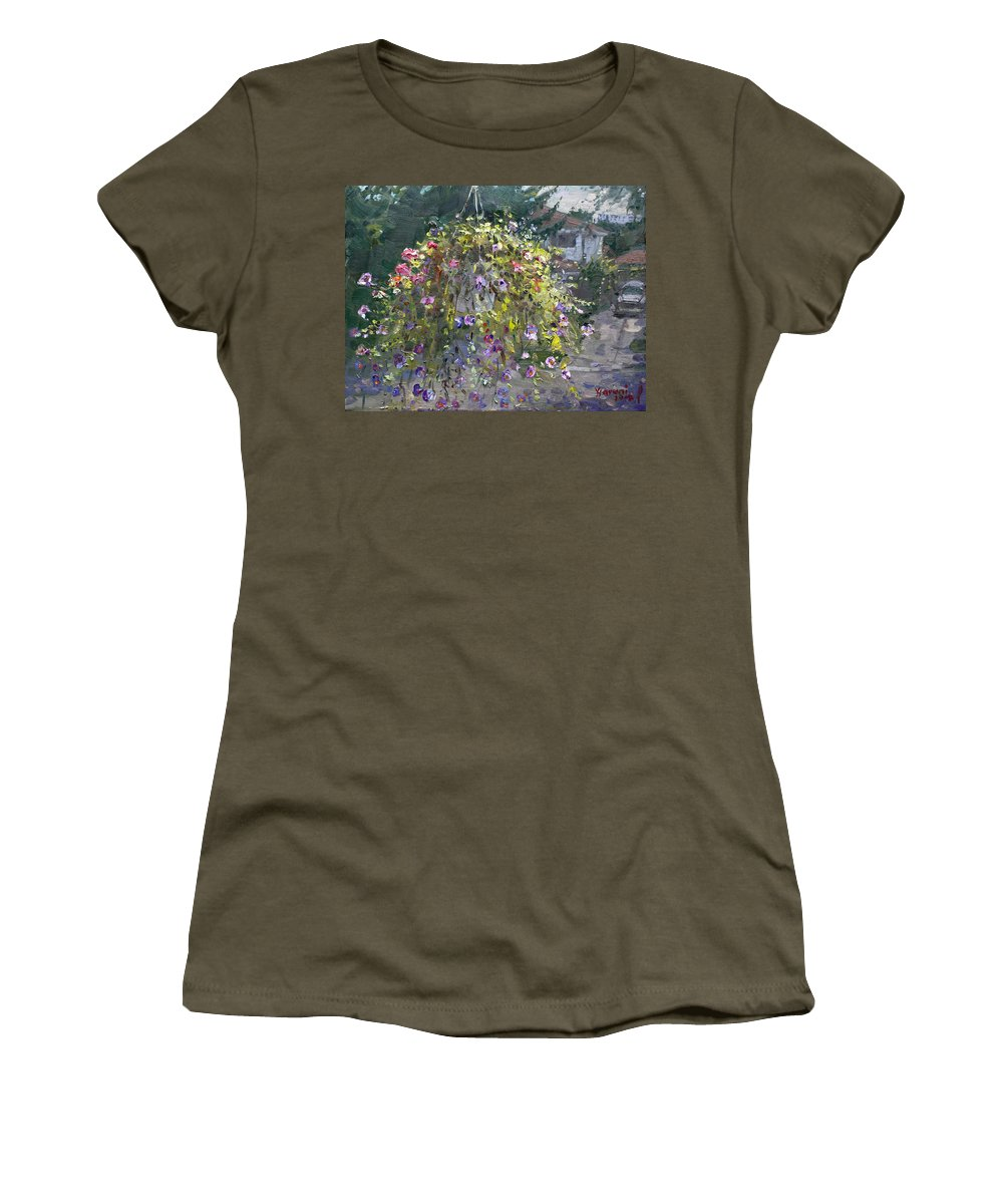 Hanging Flowers Women's T-Shirt featuring the painting Hanging Flowers From Balcony by Ylli Haruni