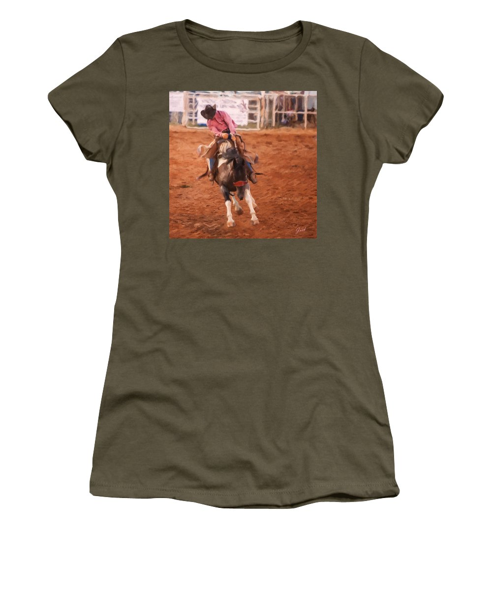 Cowboy Women's T-Shirt featuring the painting Hanging On by Jack Milchanowski
