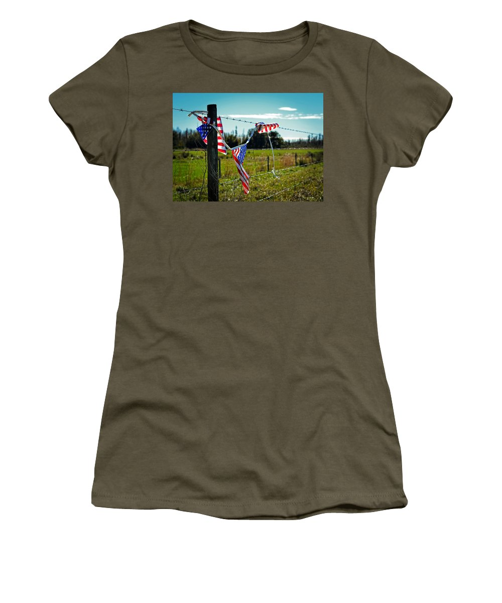 Flag Women's T-Shirt featuring the photograph Hanging On - The American Spirit By William Patrick And Sharon Cummings by Sharon Cummings