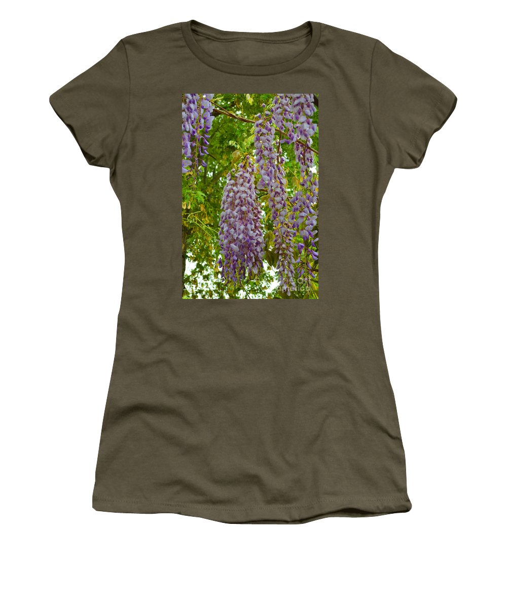 Blossoms Women's T-Shirt featuring the photograph Hanging Wisteria Blossoms by Alys Caviness-Gober
