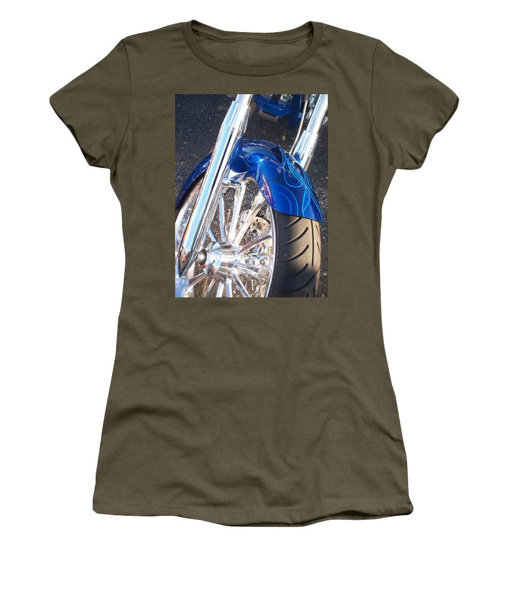 Motorcycles Women's T-Shirt featuring the photograph Harley Close-up Blue Flame by Anita Burgermeister