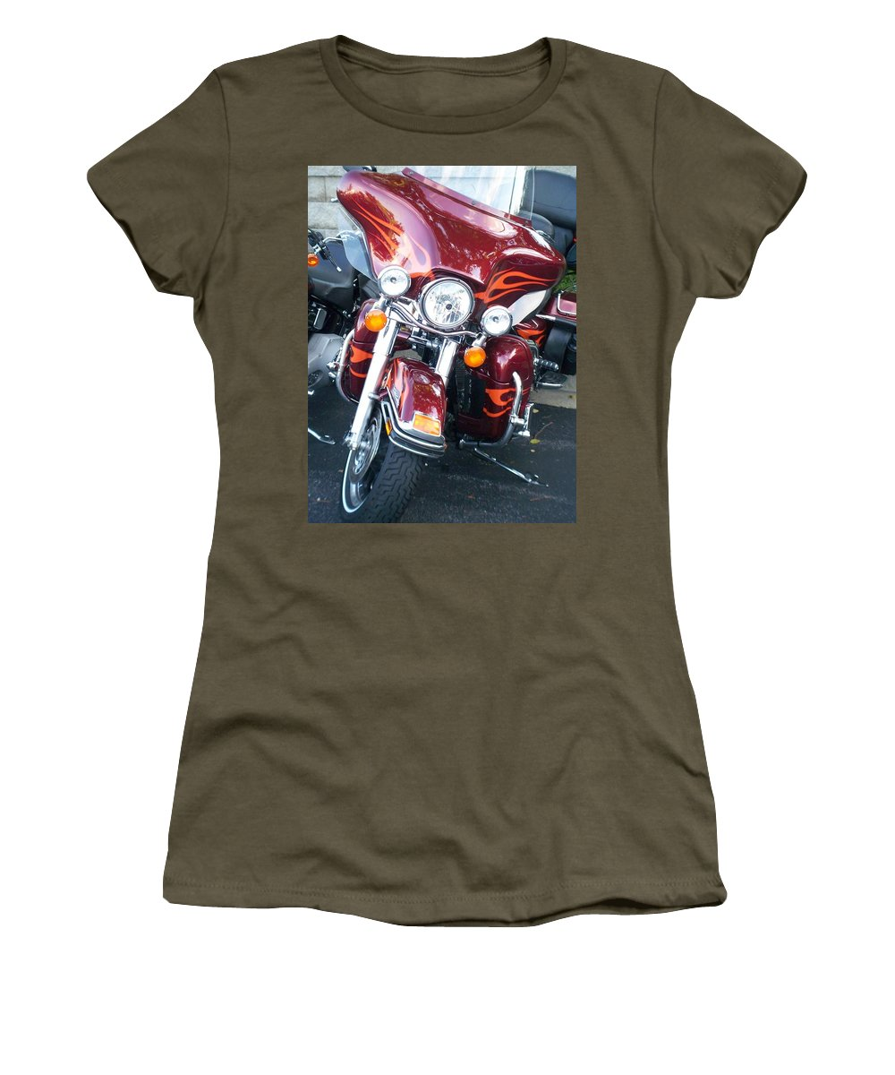 Motorcycles Women's T-Shirt featuring the photograph Harley Red W Orange Flames by Anita Burgermeister