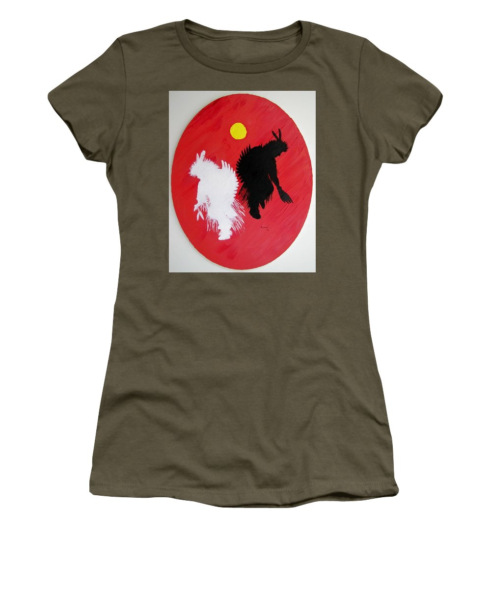 Harvest Dance Women's T-Shirt featuring the painting Harvest Dance by Michael TMAD Finney