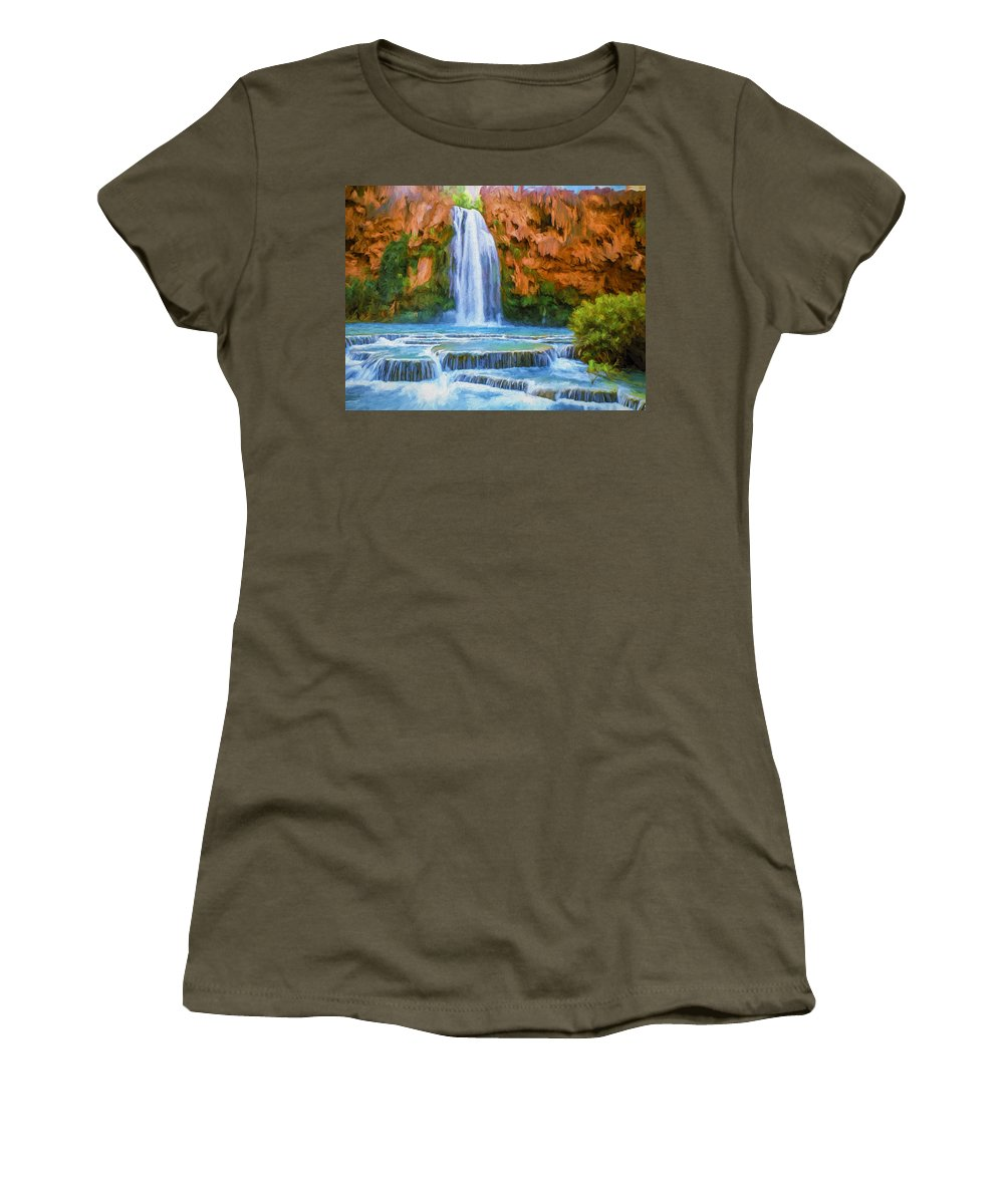 Fine Art Women's T-Shirt (Athletic Fit) featuring the painting Havasu Falls by David Wagner