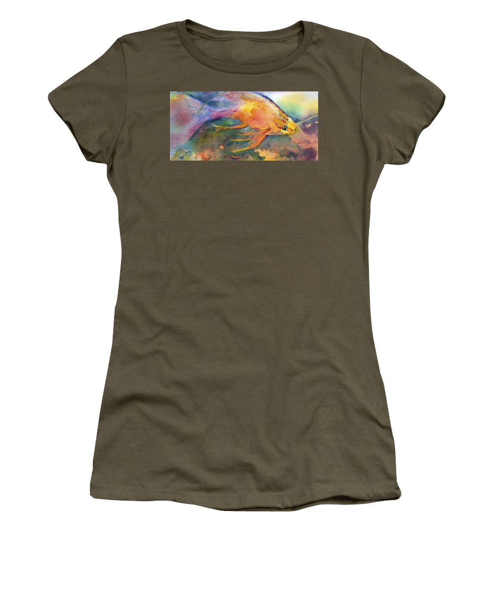 Hermaphrodite Women's T-Shirt featuring the painting Hawaiian Longfish by Deborah Pence