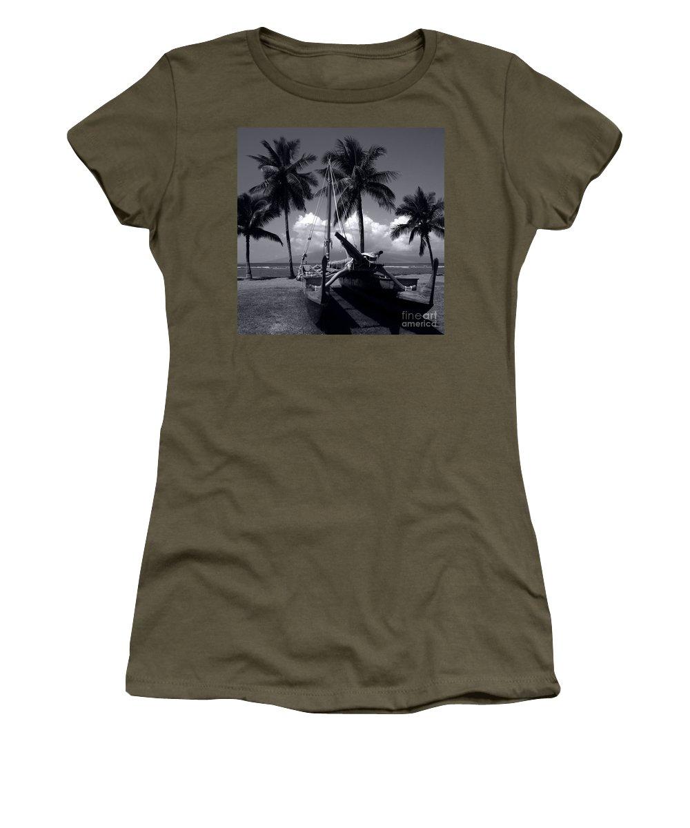 Aloha Women's T-Shirt featuring the photograph Hawaiian Sailing Canoe Maui Hawaii by Sharon Mau