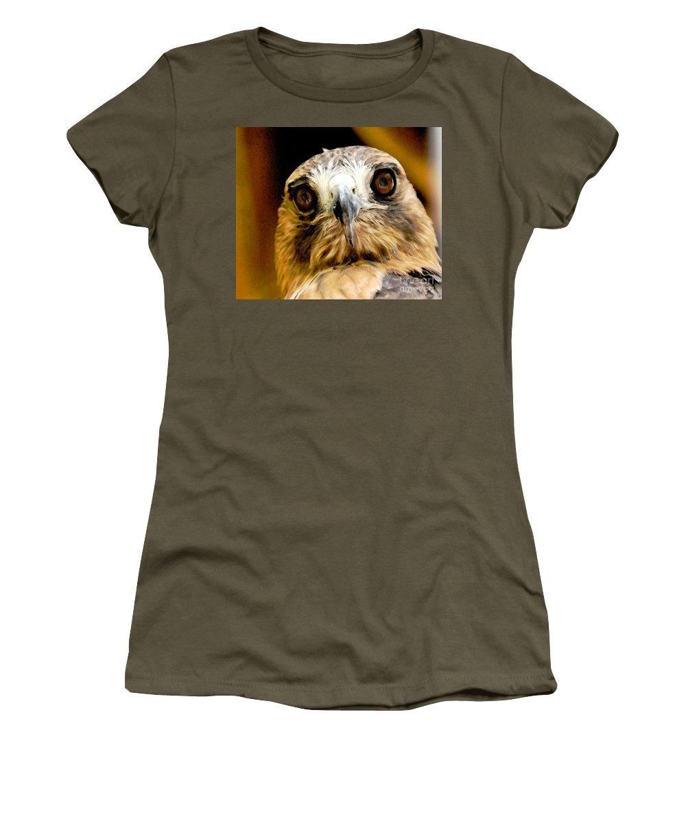 Hawk Women's T-Shirt featuring the photograph Hawkeye by Lois Bryan