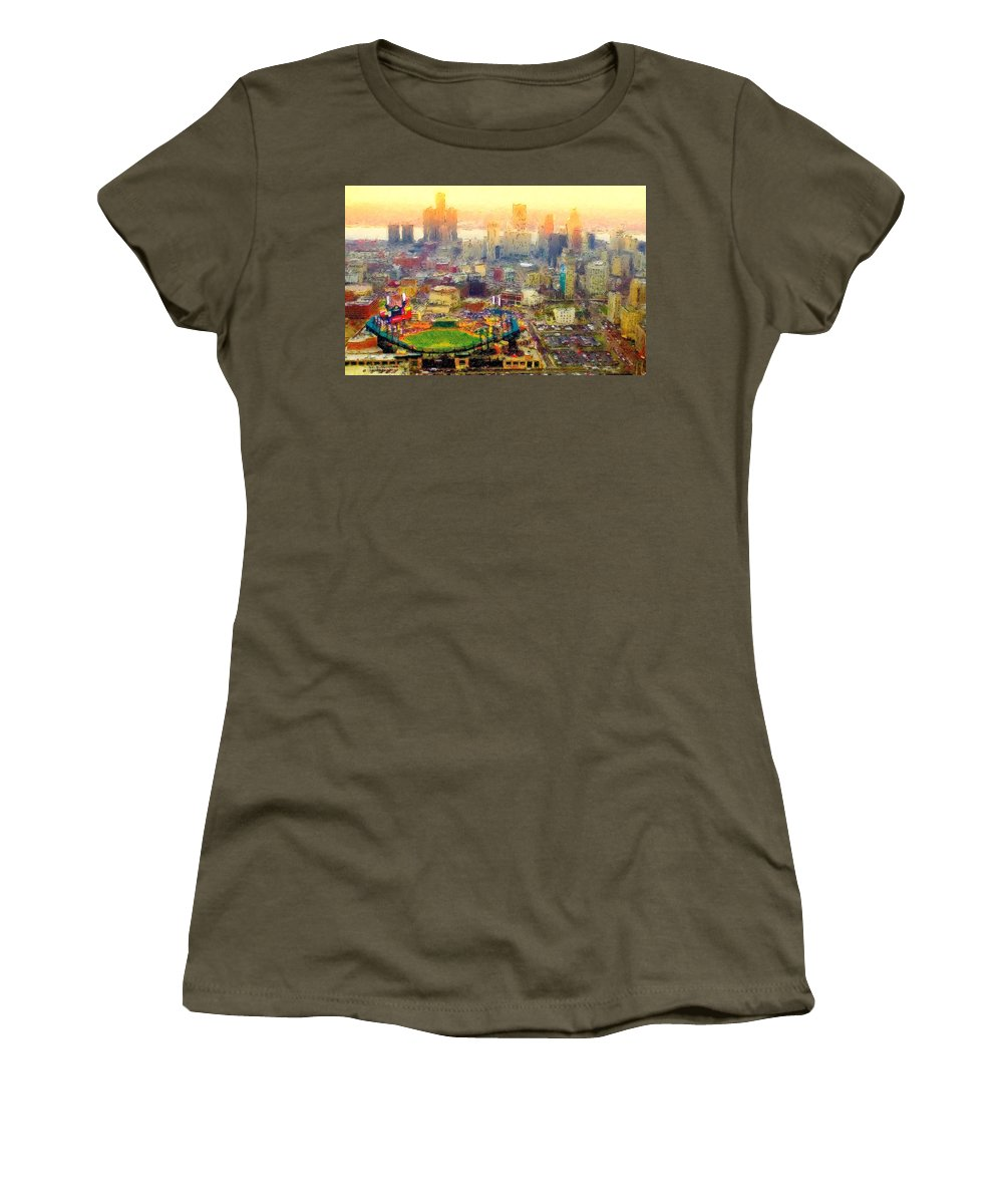 Comerica Women's T-Shirt featuring the painting Haze Over Comerica by John Farr