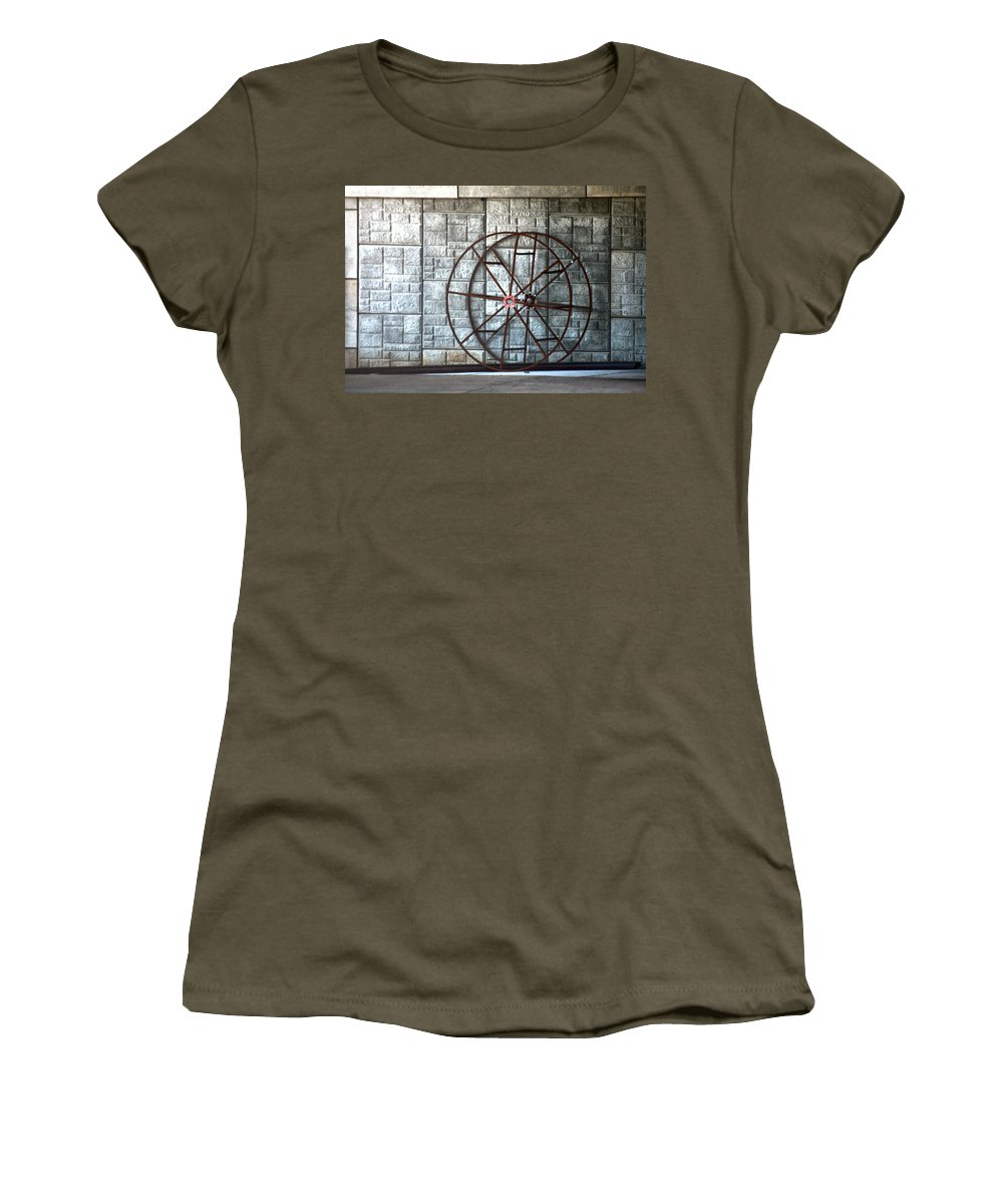 Concrete Women's T-Shirt featuring the photograph Hdr Industrial Cable Spindle by Lesa Fine