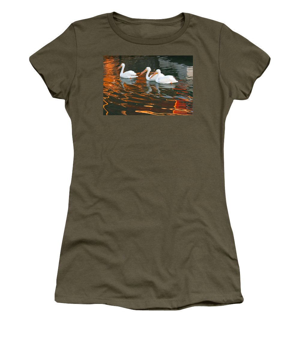 Pelicans Women's T-Shirt featuring the photograph Heading Home by Roger Rockefeller