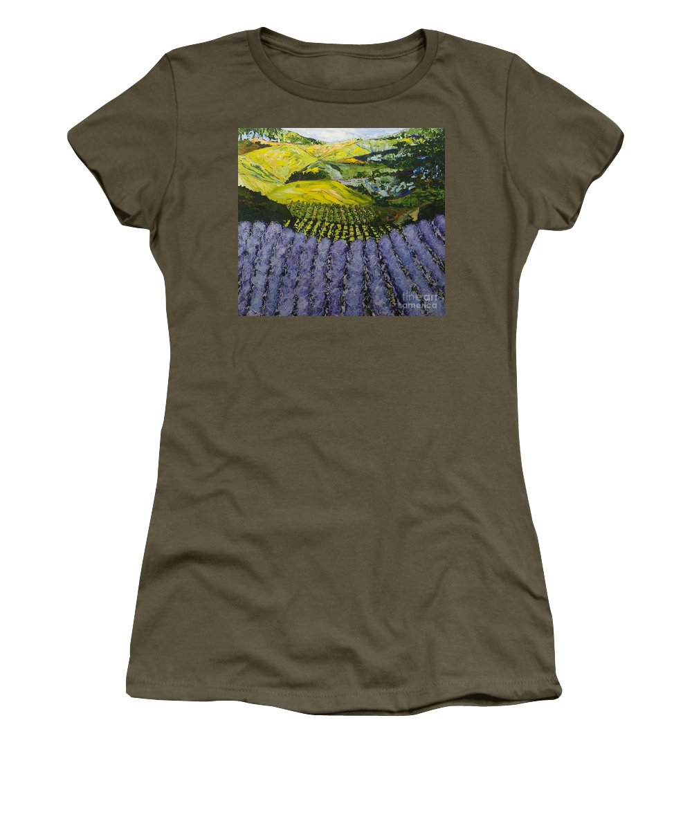 Landscape Women's T-Shirt featuring the painting Heavenly Valley by Allan P Friedlander