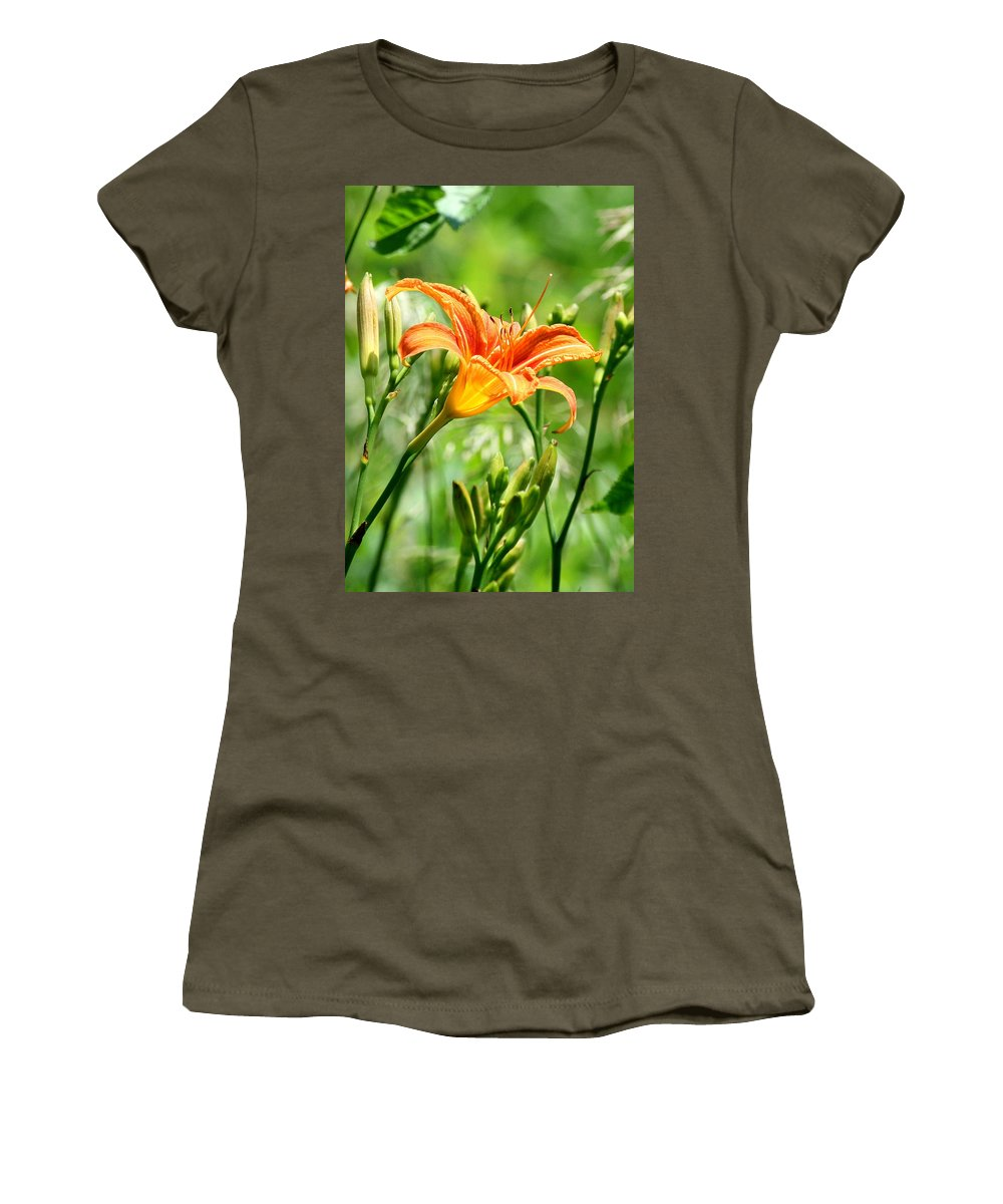 Orange. Orange Flowers Women's T-Shirt featuring the photograph Heightened Awareness by Neal Eslinger