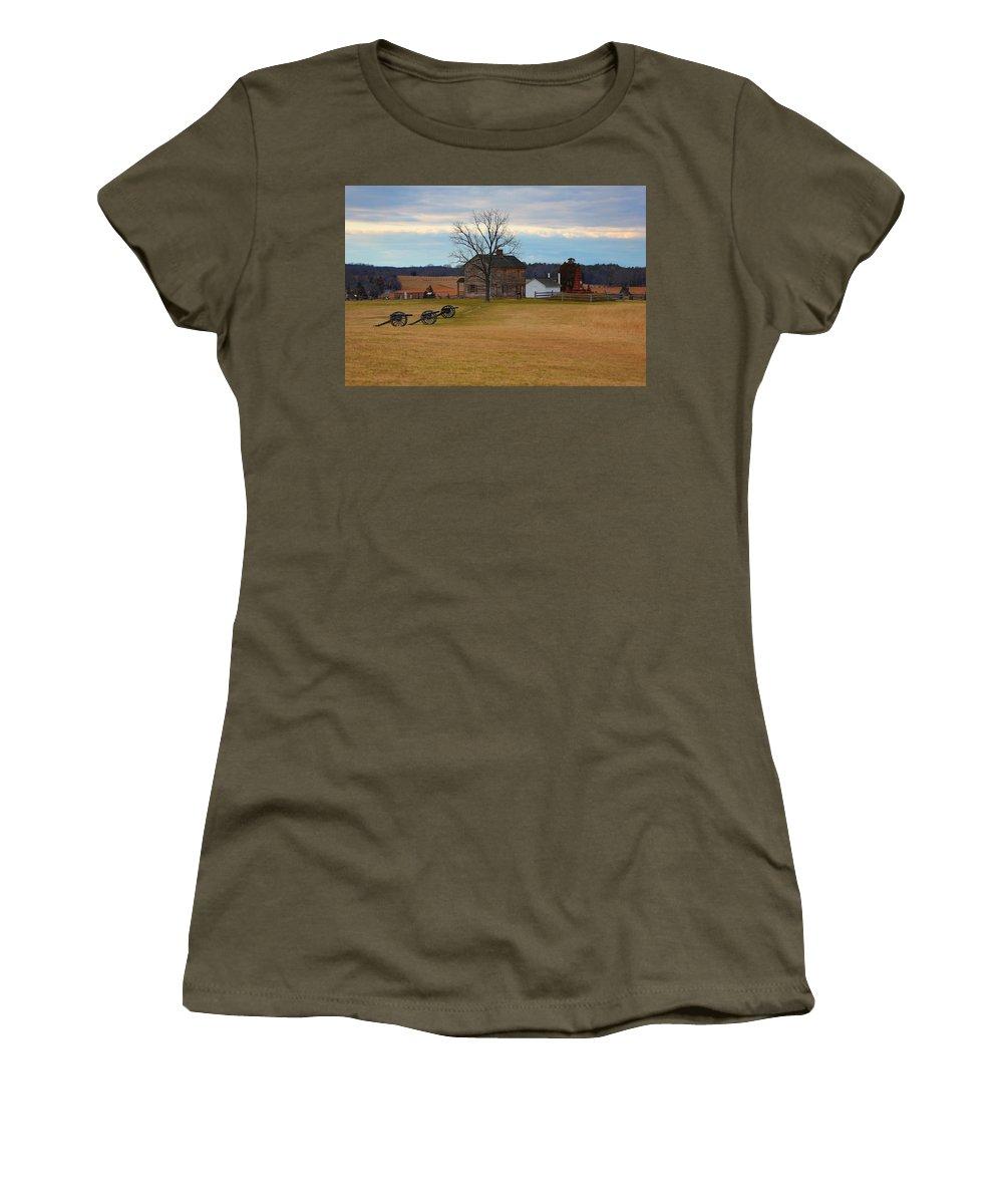 Manassas Women's T-Shirt featuring the photograph Henry House At Manassas Va by Scott Fracasso