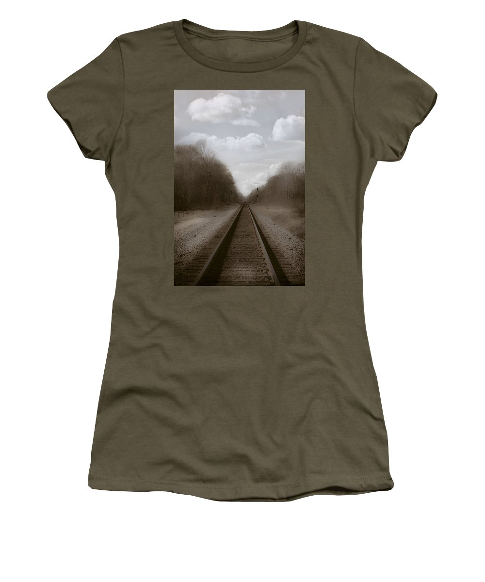 Railroad Women's T-Shirt featuring the photograph Here That Train by Kim Henderson