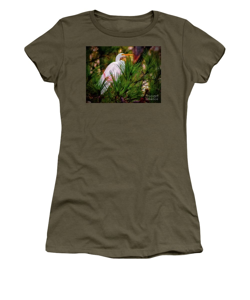 Lake Women's T-Shirt featuring the photograph Heron In The Pines by Scott Hervieux