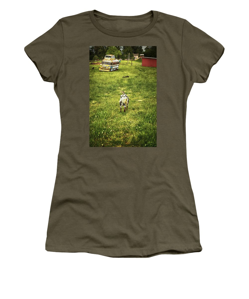 Goat Women's T-Shirt featuring the photograph Hey Kids - The Bus Is Here by Belinda Greb