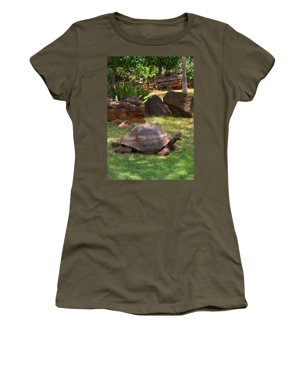 Galapagos Turtle Women's T-Shirt featuring the photograph Hey - What About Me by Michele Myers