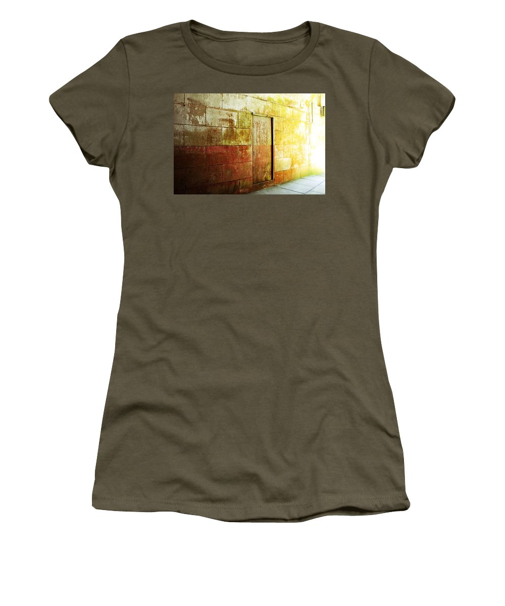 Brick Women's T-Shirt (Athletic Fit) featuring the photograph Hidden Door by Holly Blunkall