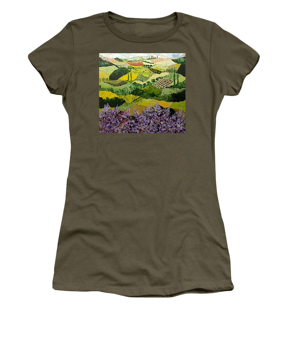 Landscape Women's T-Shirt (Athletic Fit) featuring the painting High Ridge by Allan P Friedlander