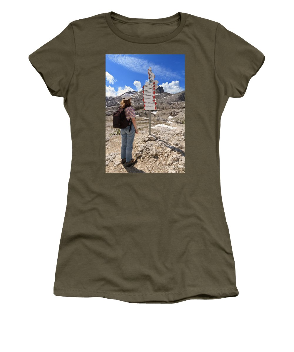 Alpine Women's T-Shirt featuring the photograph Hiker And Directions by Antonio Scarpi