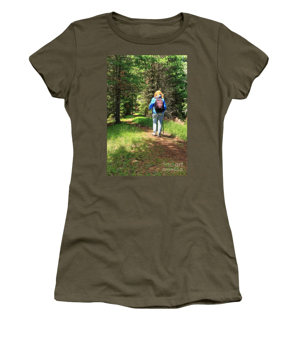 Alps Women's T-Shirt featuring the photograph Hiker In The Forest by Antonio Scarpi