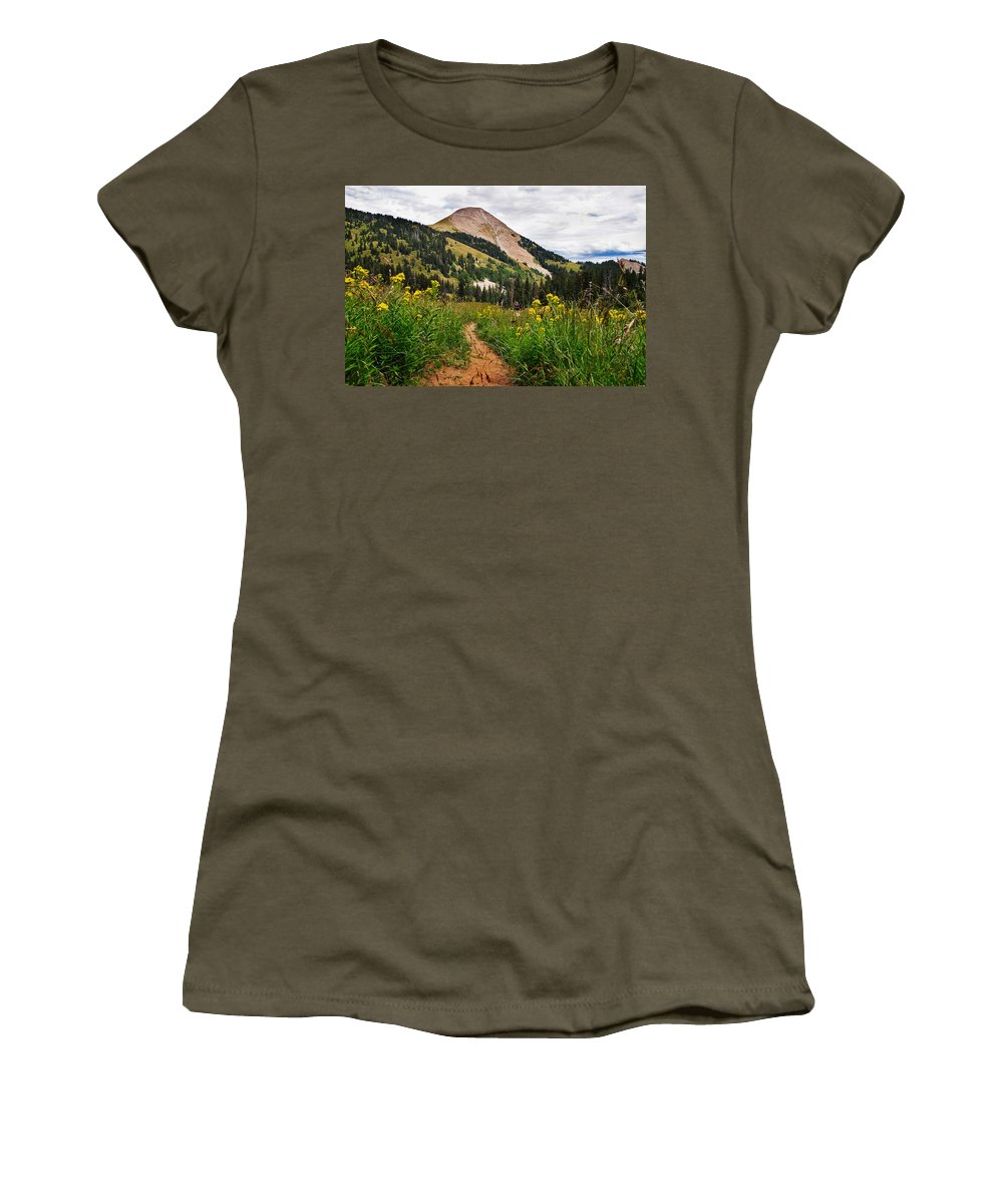 3scape Photos Women's T-Shirt (Athletic Fit) featuring the photograph Hiking In La Sal by Adam Romanowicz