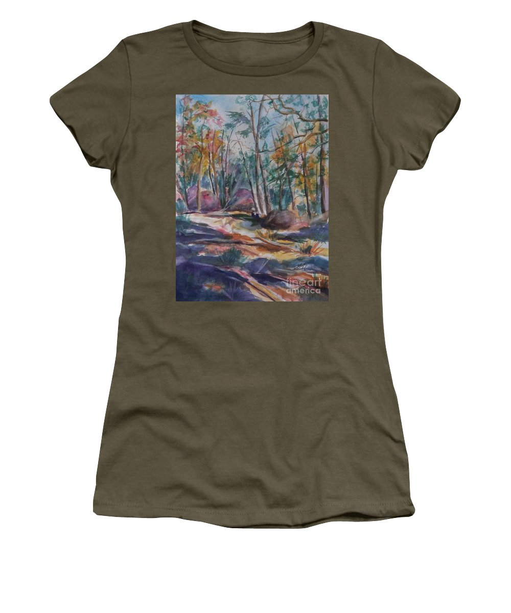 Autumn Women's T-Shirt featuring the painting Hiking To A Vision by Ellen Levinson