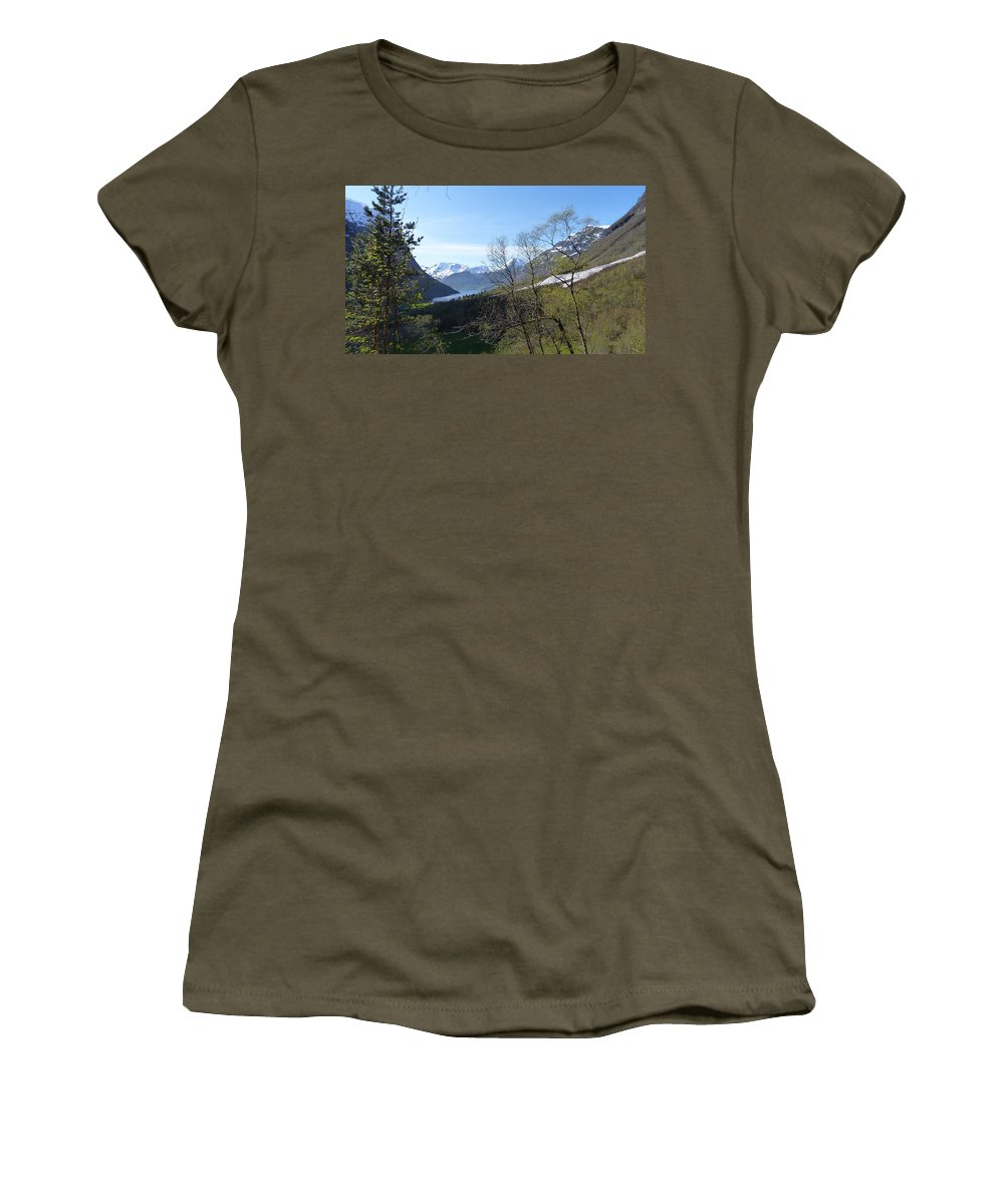 Women's T-Shirt (Athletic Fit) featuring the photograph Hjorundfjord From Slogan by Katerina Naumenko
