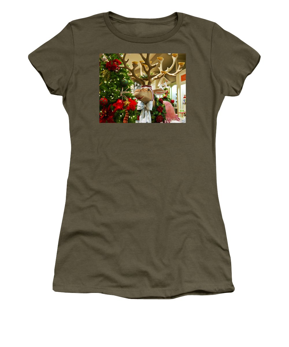 St Nick Women's T-Shirt featuring the photograph Holiday Reindeer by Jon Berghoff