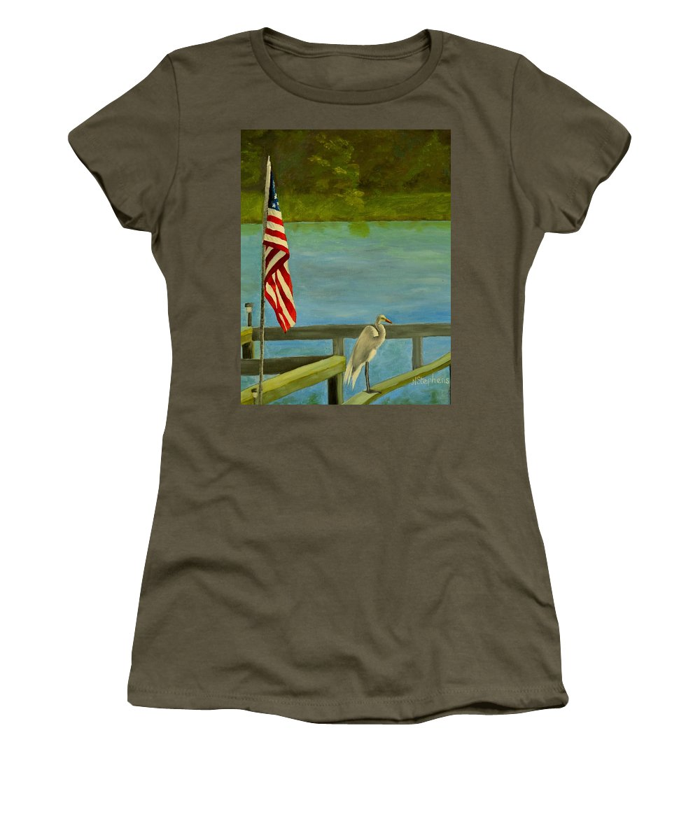 Independence Day Women's T-Shirt featuring the painting Home For The 4th by Nina Stephens