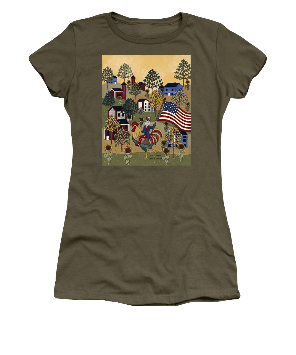 Uncle Sam Women's T-Shirt featuring the painting Home Of The Brave by Medana Gabbard