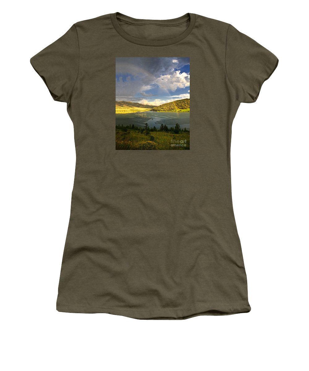 Rainbow Women's T-Shirt featuring the photograph Homeground Rainbow Landscape by Timothy Flanigan