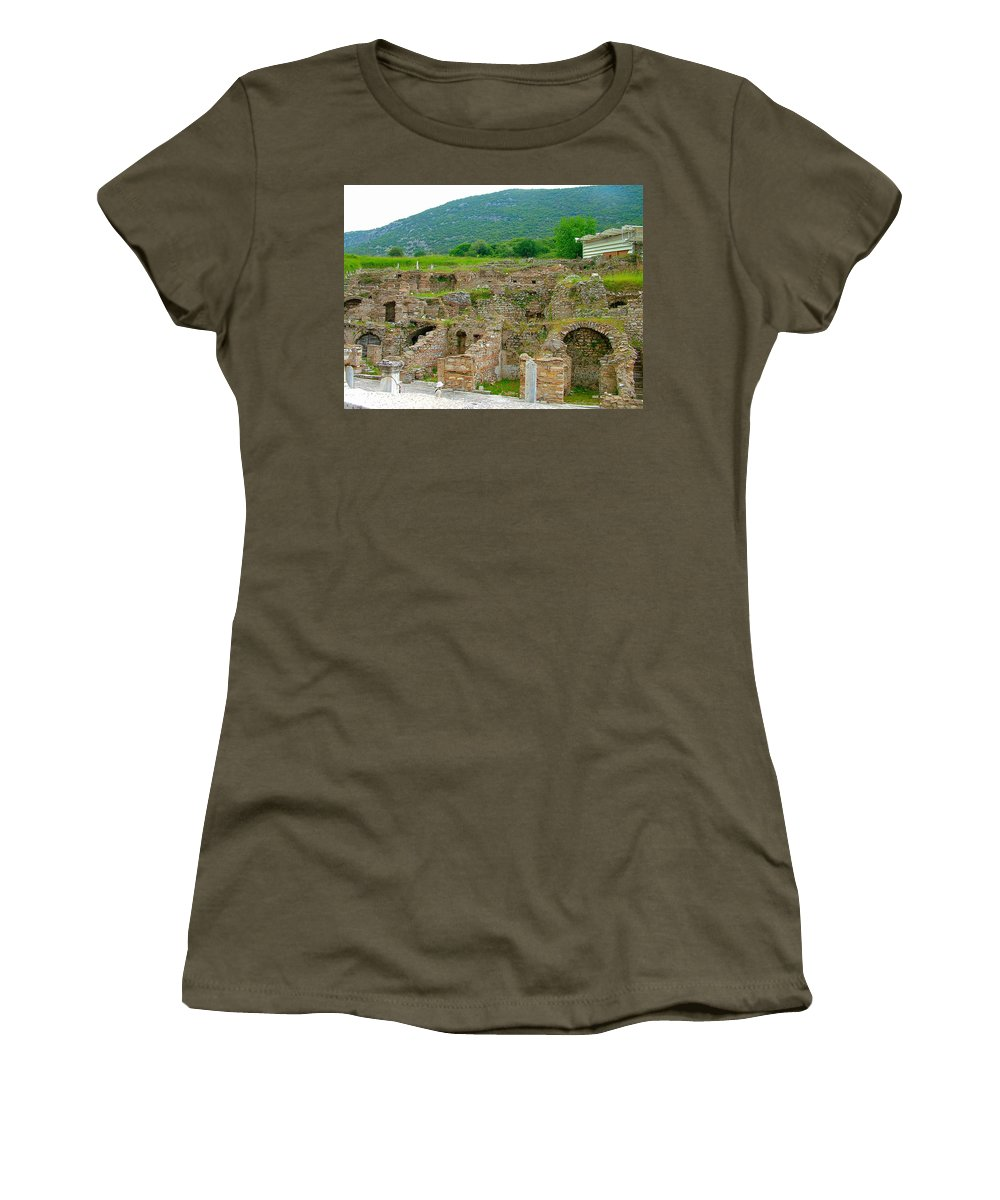 Homes Of The Rich In Central Ephesus Women's T-Shirt featuring the photograph Homes Of The Rich In Central Ephesus-turkey by Ruth Hager