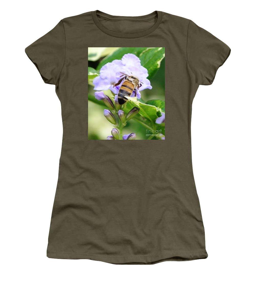 Purple Flower Women's T-Shirt (Athletic Fit) featuring the photograph Honey Bee On Lavender Flower by Mary Deal