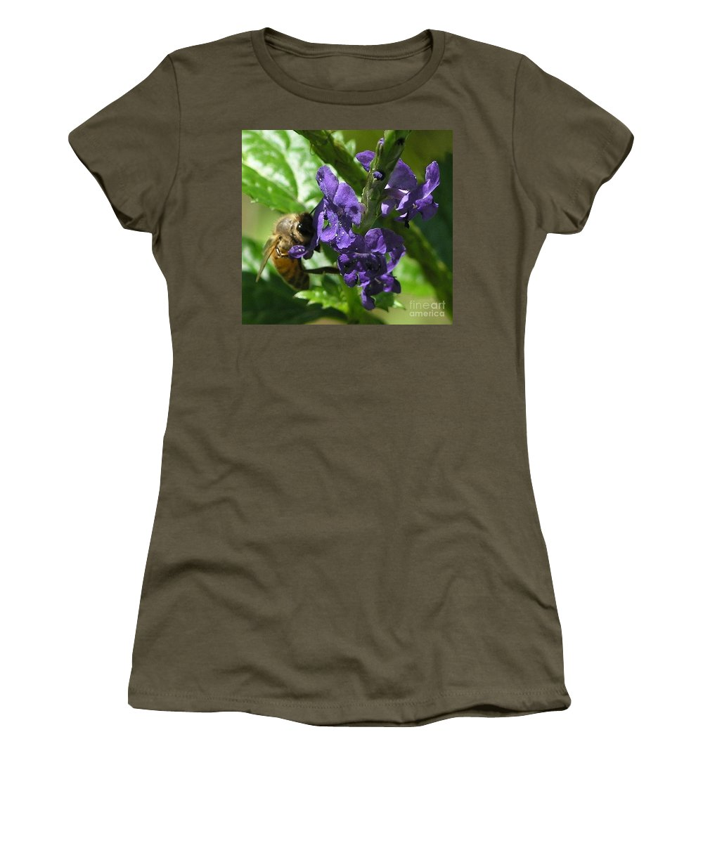 Purple Women's T-Shirt (Athletic Fit) featuring the photograph Honey Bee On Purple Flower by Mary Deal