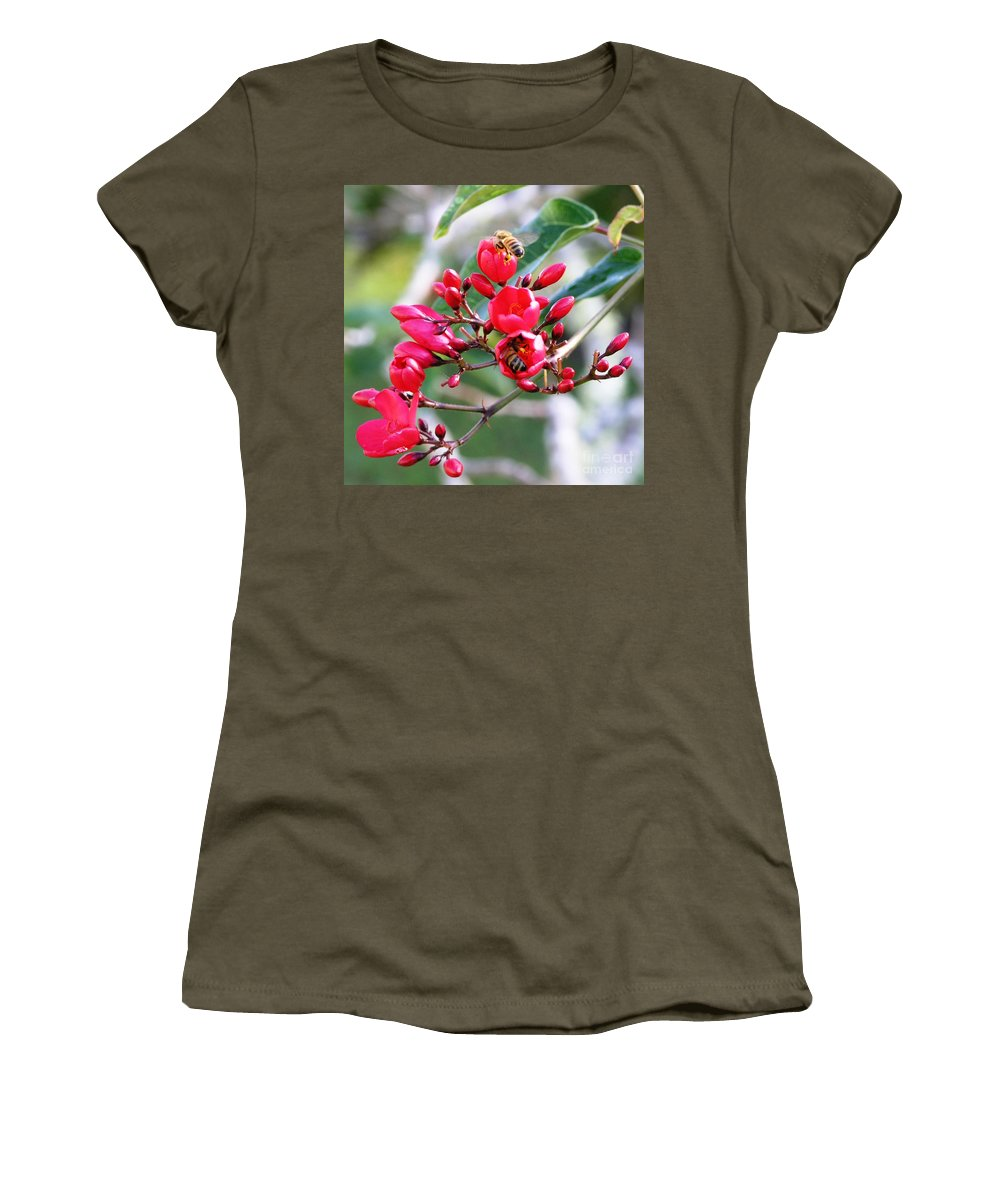 Red Women's T-Shirt (Athletic Fit) featuring the photograph Honey Bee Working by Mary Deal