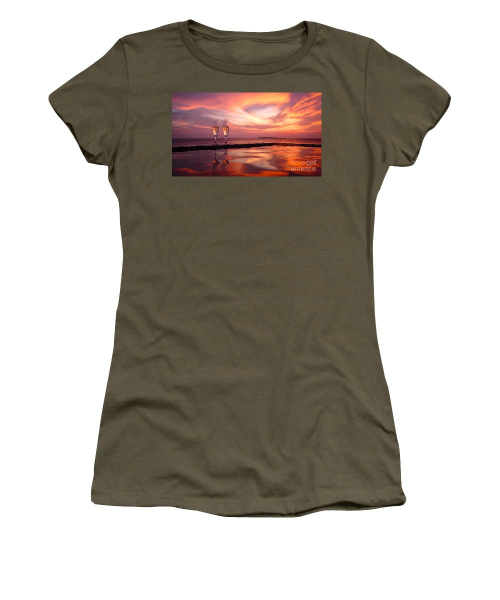 Champagne Women's T-Shirt featuring the photograph Honeymoon - A Heart In The Sky by Hannes Cmarits