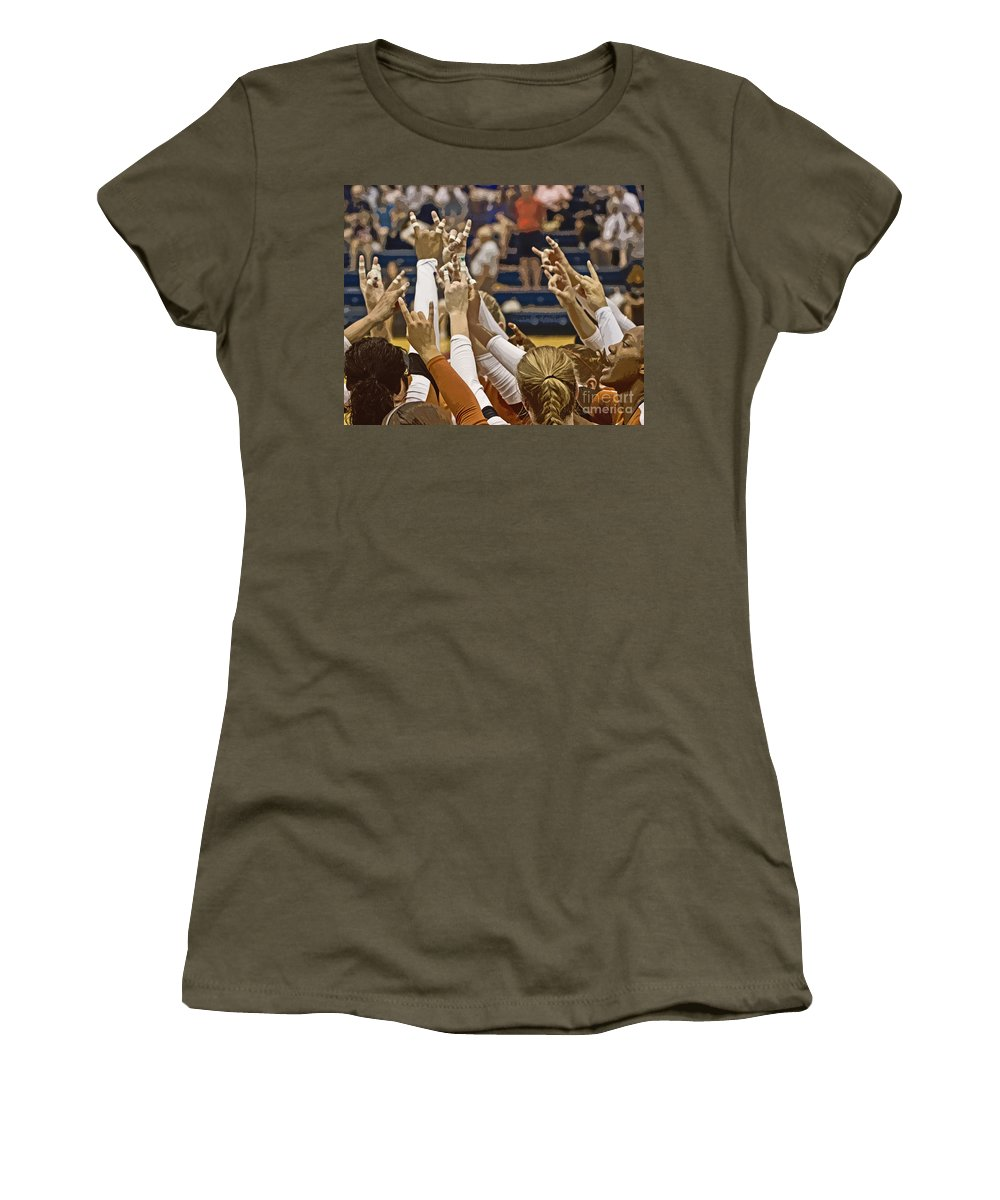 Texas Women's T-Shirt featuring the photograph Hook 'em Horns by Tom Gari Gallery-Three-Photography
