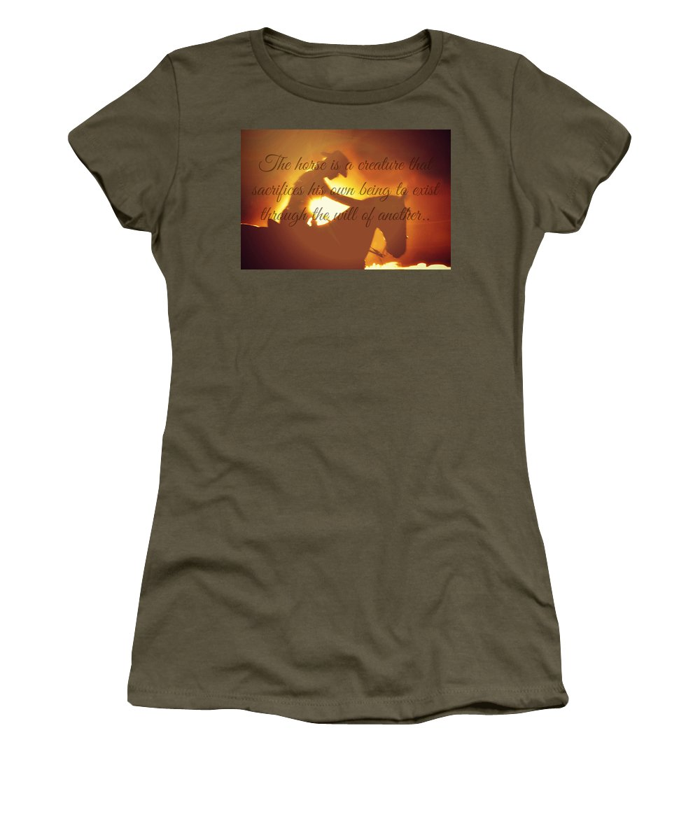 Advertisement Greeting Cards Women's T-Shirt featuring the photograph Horse And Rider Silhouette by Chastity Hoff