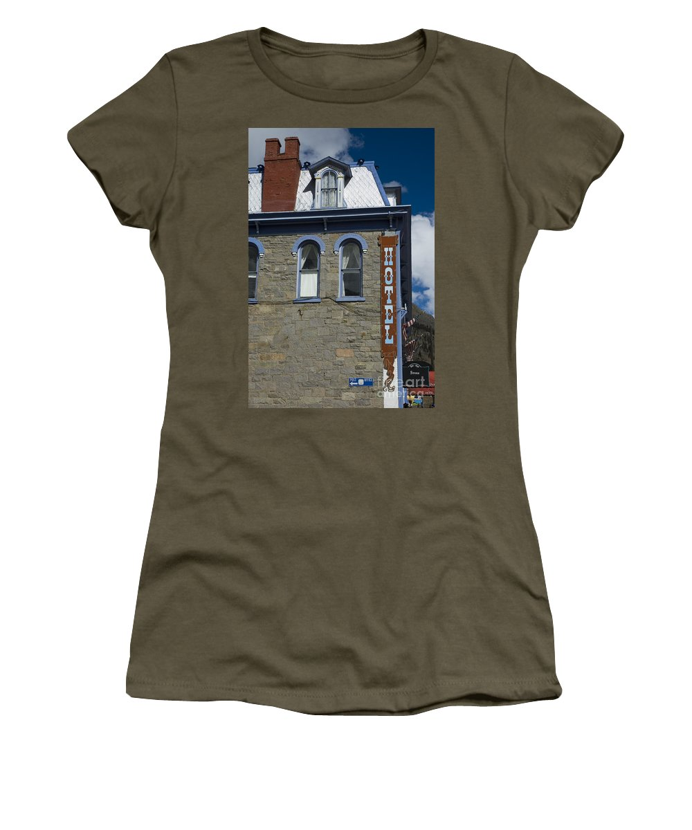 Hotel Women's T-Shirt featuring the photograph Hotel In Silverton by Jerry McElroy