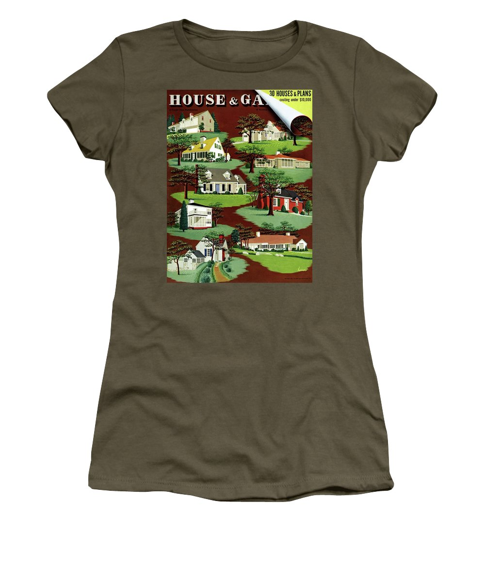 House & Garden Women's T-Shirt featuring the photograph House & Garden Cover Illustration Of 9 Houses by Robert Harrer
