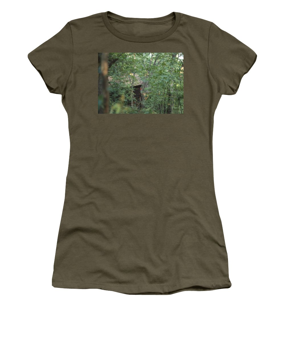 Trees Women's T-Shirt featuring the photograph House In The Trees by Lee Newell