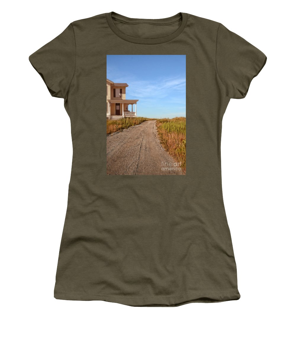 House Women's T-Shirt featuring the photograph House On Rural Dirt Road by Jill Battaglia
