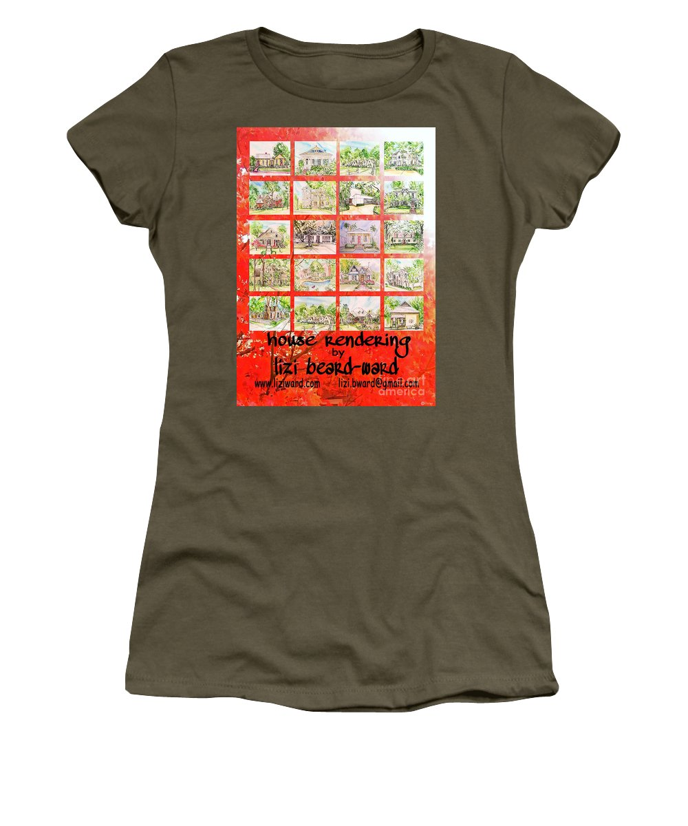 House Rendering Women's T-Shirt featuring the mixed media House Rendering Card by Lizi Beard-Ward