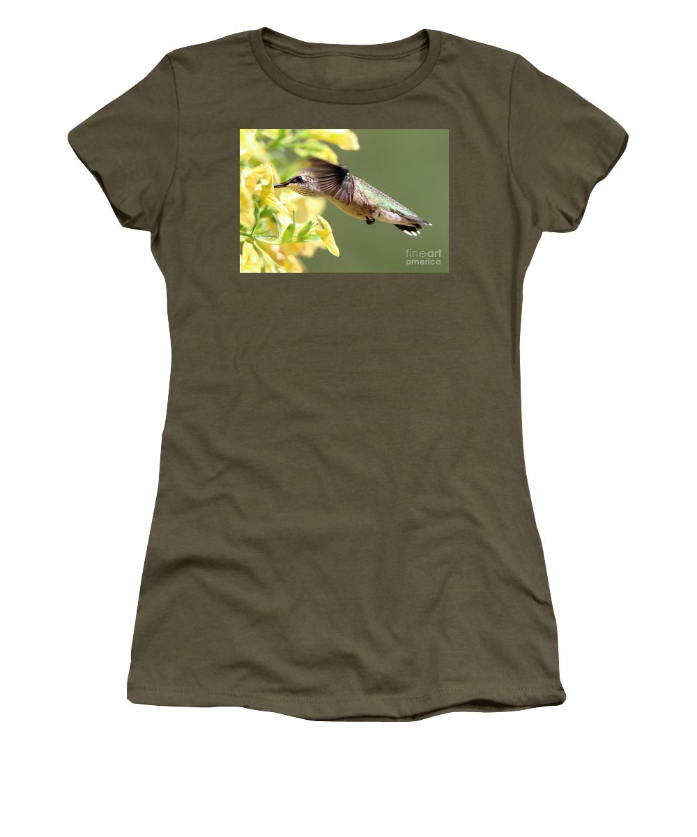 Hummingbird Women's T-Shirt featuring the photograph Hummingbird 3725 by Jack Schultz