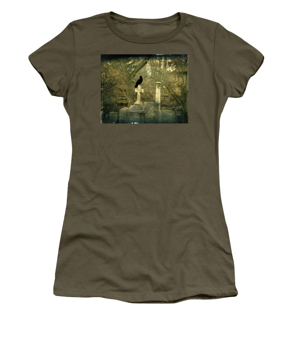 Crow In Old Graveyard Women's T-Shirt featuring the photograph Hush by Gothicrow Images